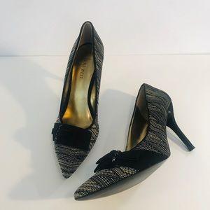 Women's Nine West Black/Gold Heels-Sz 10